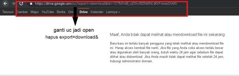 Begitu Anda melihat notifikasi bahwa berkas tersebut tidak bisa diunduh, maka sunting URL-nya dengan mengganti