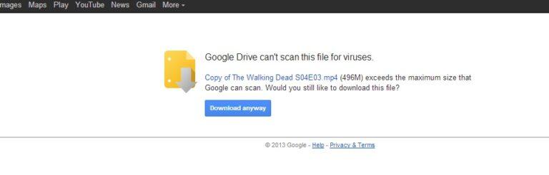 Begitu tiba di jendela download Google Drive, klik Download Anyway