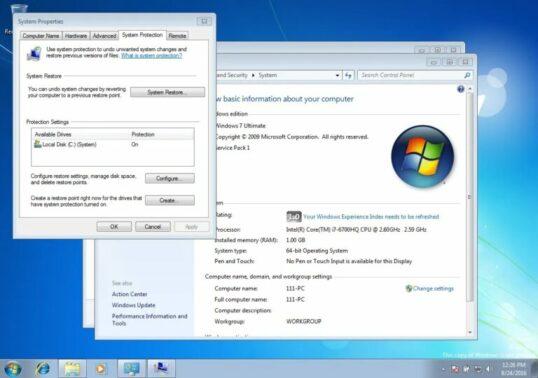 Di menu System Properties, Anda bisa klik tab System Protection dan pilih opsi System Restore