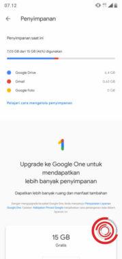 Klik menu Google Drive untuk mengecek apakah masih ada sisa space tersedia