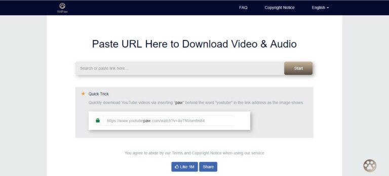 Sekarang kunjungi Vidpaw.net dan Paste URL yang telah disalin di papan yang tersedia