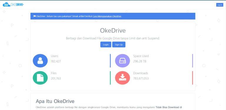 Selanjutnya buka website OkeDrive di alamat