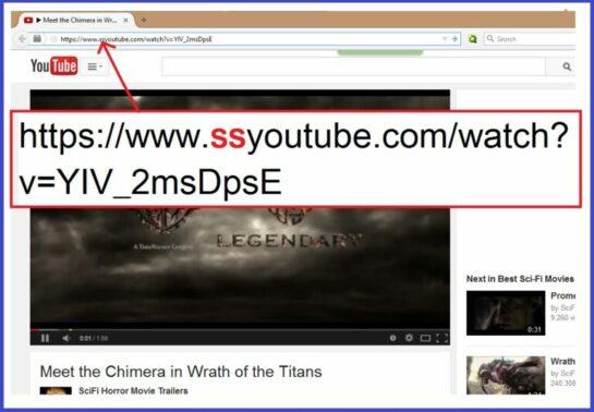 Selanjutnya klik URL video di address bar lalu tambahkan huruf SS di antara