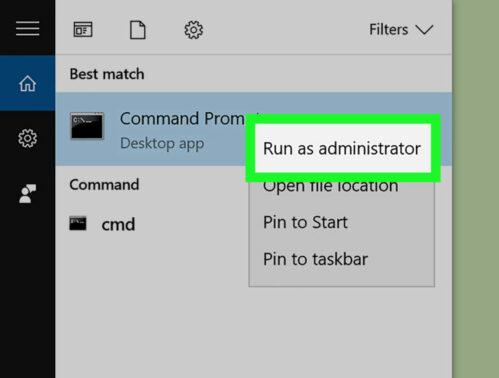 Selanjutnya klik kanan pada Command Prompt lalu pilih opsi Run as Administrator