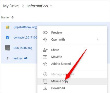 Selanjutnya klik kanan pada berkas yang ingin diunduh tersebut lalu pilih Make a Copy Buat Salinan