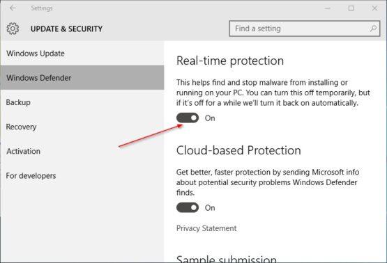 Akan muncul beberapa pilihan, mulai dari real-time protection hingga Cloud-based Protection