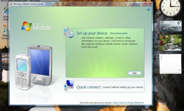 Pastikan memiliki aplikasi bernama Microsoft Windows Mobile Device Center