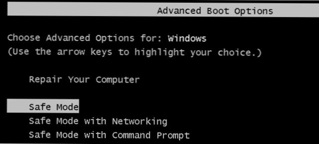 Setelah masuk menu booting, klik pada bagian safe mode
