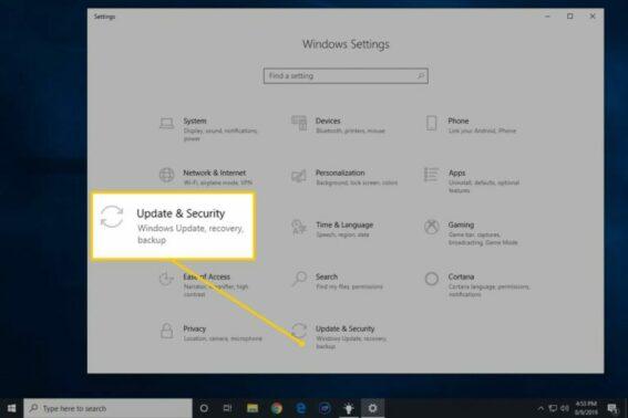 Setelah muncul jendela baru klik Update & Security