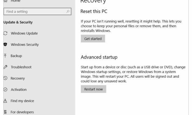 Setelah muncul jendela baru, pilih Recovery dan klik Get Started