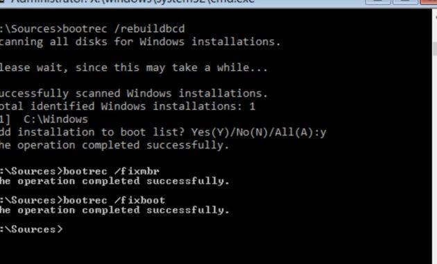 Tulis perintah bootrec rebuildbcd dan tekan terakhir Enter