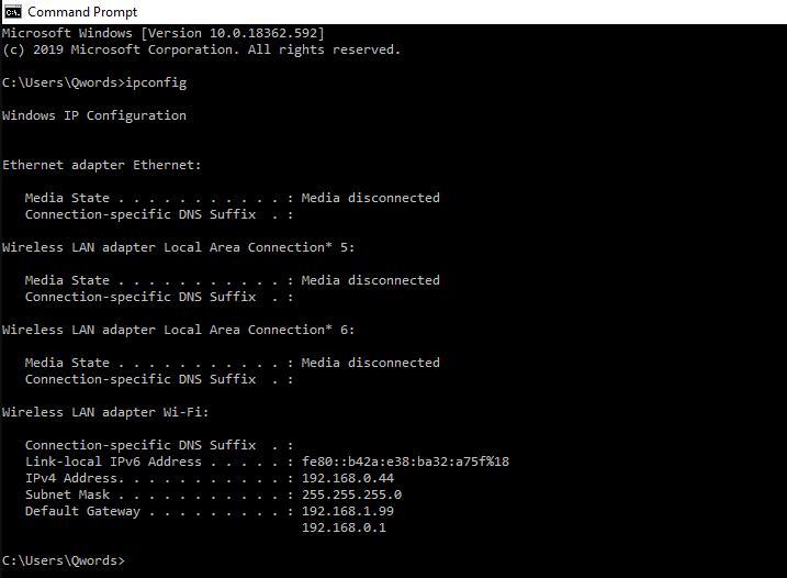 IP Command Prompt