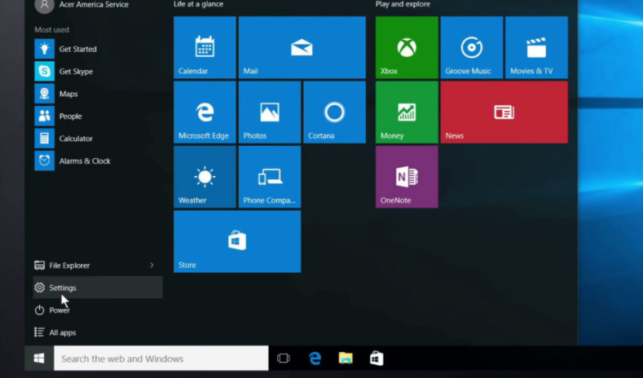 Settings dari Start Menu