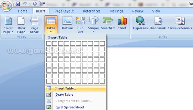 Melalui kotak dialog Insert Table